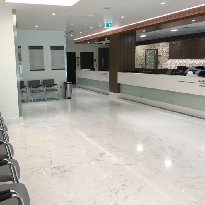 Volakas White Marble Flooring & Gris Rubina