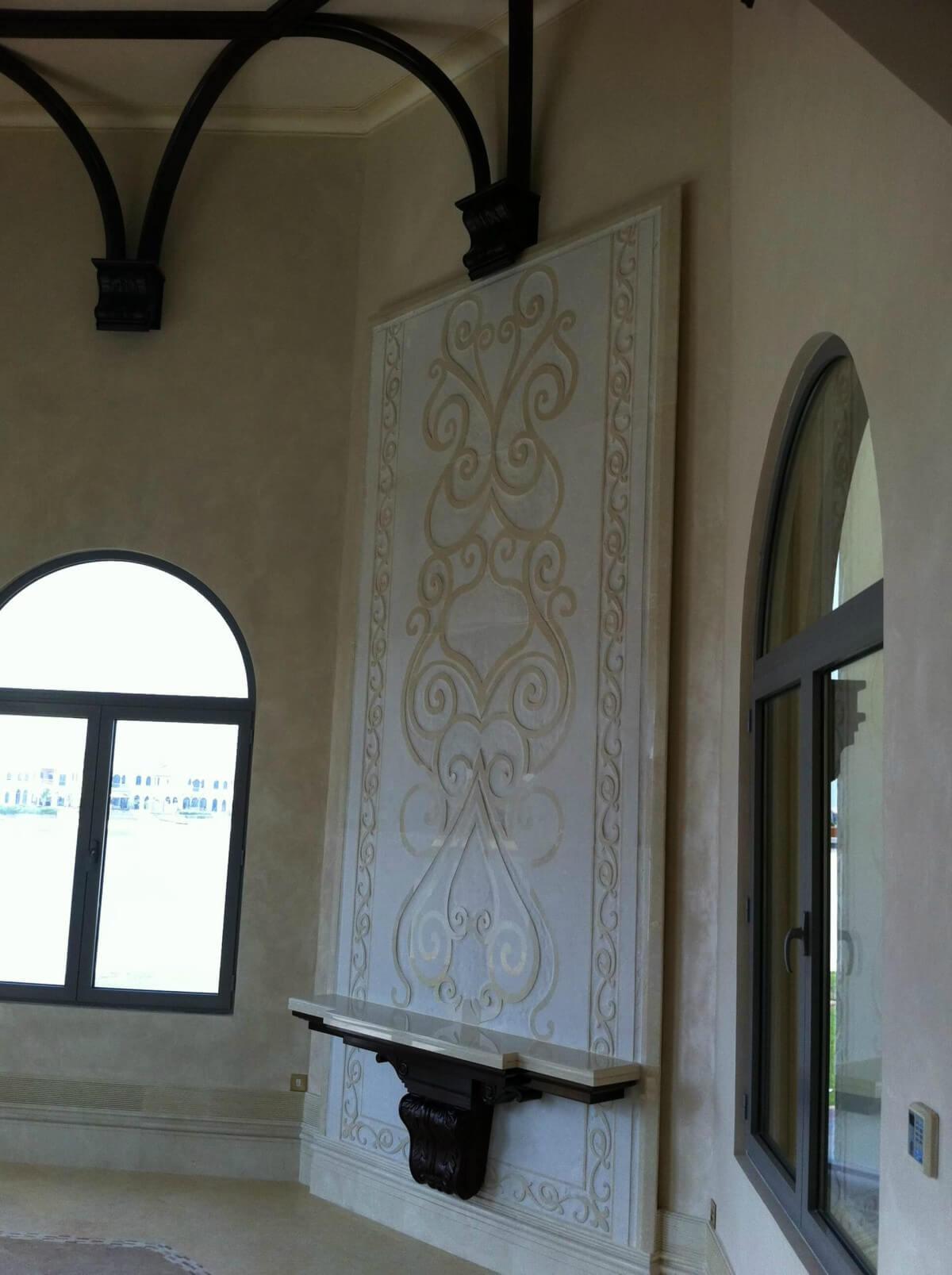 Natural Stone Mural; Crema Marfil Engraving