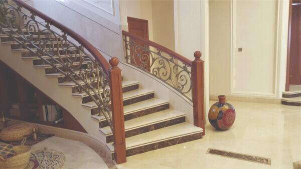 Cream Marfil marble stairs interior villa