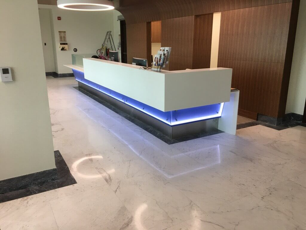 White Volakas Marble Floor Clinic Reception