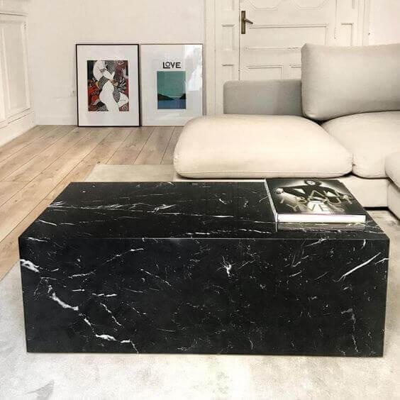 mesa de marmol de diseño en marmol negro marquina