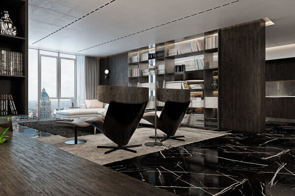 Black Marquina Marble Floor  or Nero Marquina Floor
