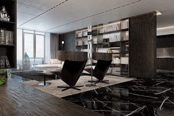 Suelo de marmol negro marquina ambiente diseño y sofisticado y con clase