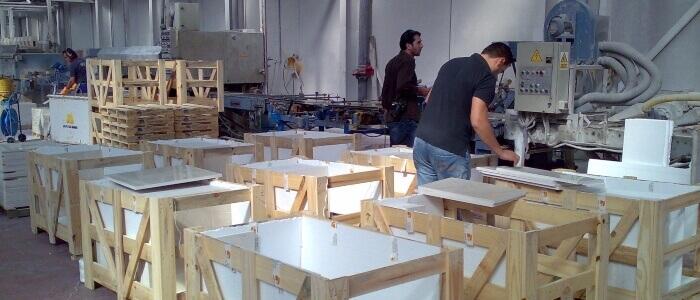 Inspeccion de marmol en fábrica-previo packaging