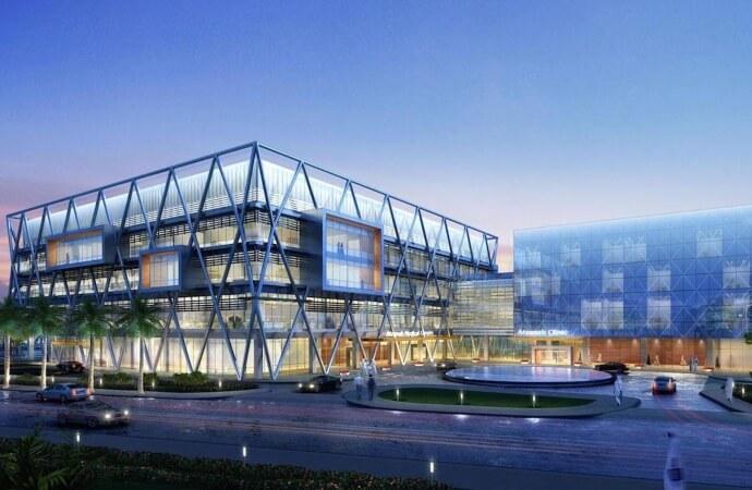 Vista Exterior de Arzanah Medical Complex en Abu Dhabi- EAU, revestimiento interior de piedra serpeggiante realizado llave en mano por Albora international